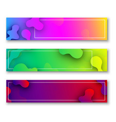 three colorful banners with abstract pattern vector image