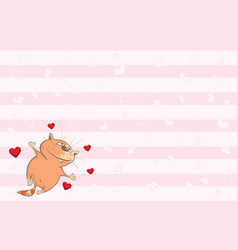 Valentines card with cute tabby cat vector