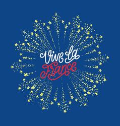 vive la france lettering on firework background vector image