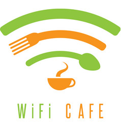 wi-fi cafe simple with cup coffeespoon and fork vector image
