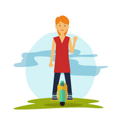 young female riding a modern hover board vector image