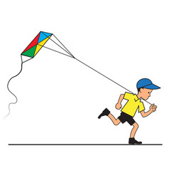 boy with kite flying vector image