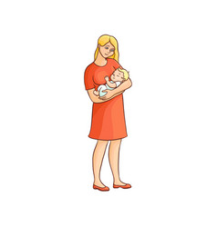 flat girl standing with infant baby vector image vector image
