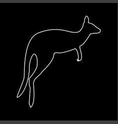 Kangaroo white color path icon vector