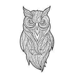 monochrome hand drawn zentagle of owl vector image