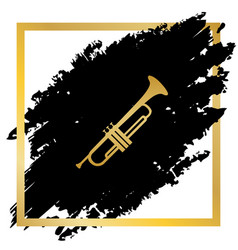 musical instrument trumpet sign golden vector image