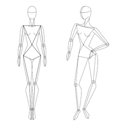 Technical woman figure static and in vector image