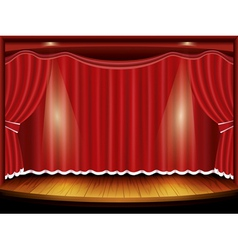 Theater stage with red curtain and spotlight vector image