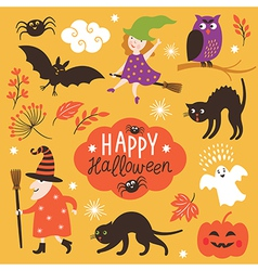 Set of cute Halloween elements vector image vector image