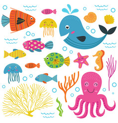 set of isolated with marine animals part 1 vector image vector image