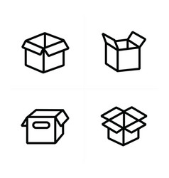 set of parcel box open box icons vector image