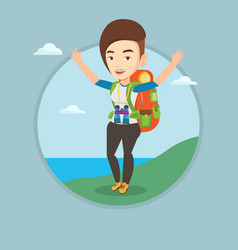 backpacker with her hands up enjoying the scenery vector image