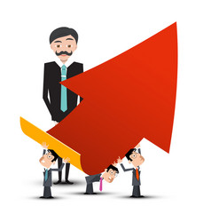 business people with red arrow vector image vector image