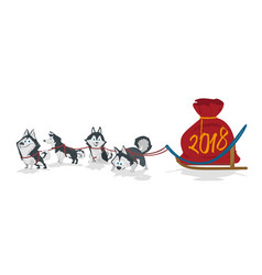 dogs sled team and chrismas bag with numbers 2018 vector image