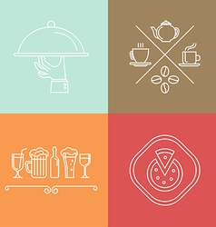 linear catering icons vector image vector image
