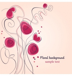 poppy and heart background vector image vector image