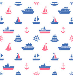 seamless pattern with blue and red sea transport vector image