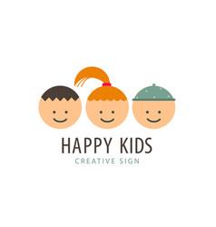 3 kids faces funny cartoon boys and girl vector