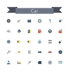 Car Flat Icons vector image