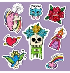 Cartoon Tattoo Stickers Set vector image vector image