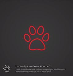 cat footprint outline symbol red on dark vector image vector image