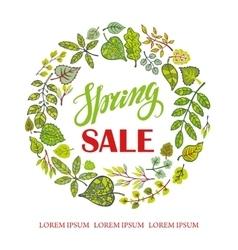 Spring SaleGreen Leaves wreathtitles vector image vector image