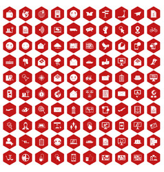 100 mail icons hexagon red vector