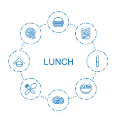 8 lunch icons vector