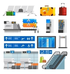 Airport Interior Flat Color Decorative Icons Set vector image