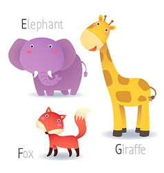 Alphabet with animals from E to G vector image