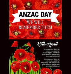 Anzac day poppy flower memorial poster design vector