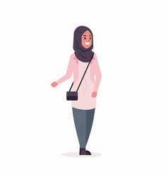 arabic woman in hijab arab girl wearing headscarf vector image