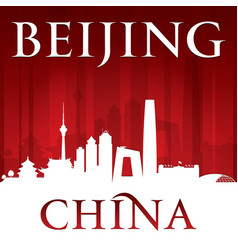 Beijing china city skyline silhouette red vector