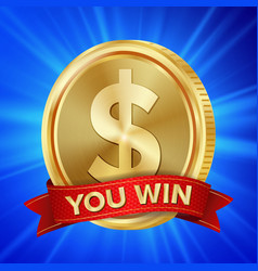big winner poster you win dollar golden vector image