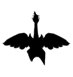 black electric guitar to pley music with wings vector image