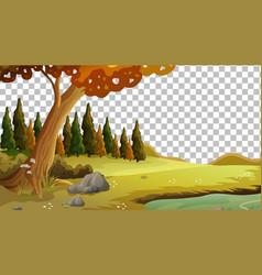 Blank nature scene landscape on transparent vector