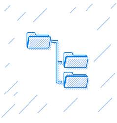 blue folder tree line icon isolated on white vector image