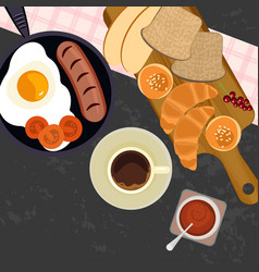 Breakfast with cup of coffe vector