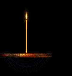 Burning candle with wooden stand and veil vector