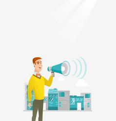 Businessman making public announcement vector