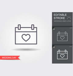 calendar with heart icon line icon with editable vector image