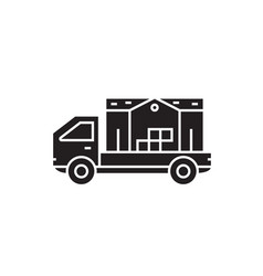 cargo transportation black concept icon vector image