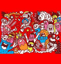Cartoon hand drawn doodles holiday poster vector