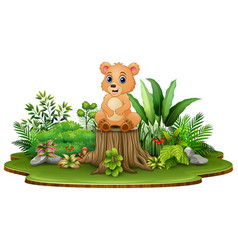cartoon happy bear sitting on tree stump with gree vector image
