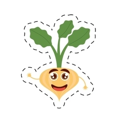 Cartoon onion leaves happy vegetable cut line vector