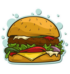 cartoon tasty big hamburger sticker icon vector image