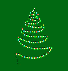 christmas abstract tree made of garland with lamps vector image