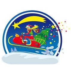 christmas sled vector image