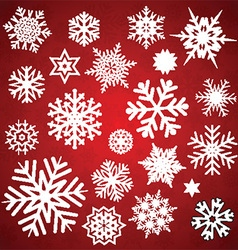 Christmas snowflakes and stars collection vector image