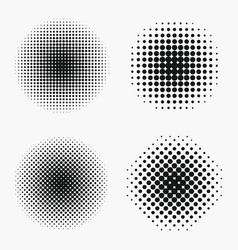 Circle halftone effects set vector